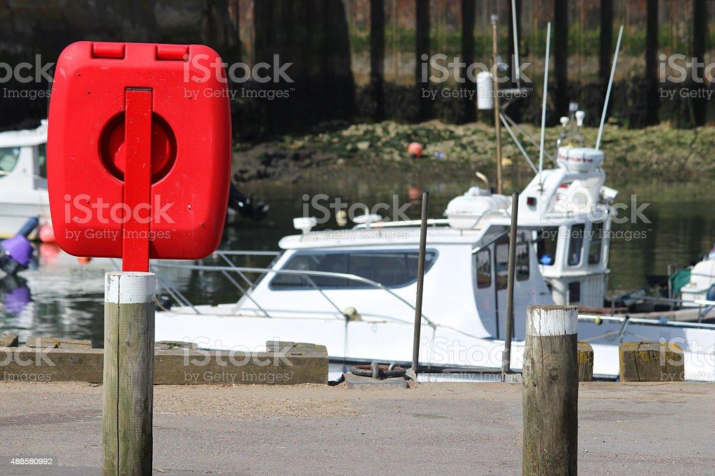 Image of lifering life-preserver buoyancy aid donut by marina boats stock photo