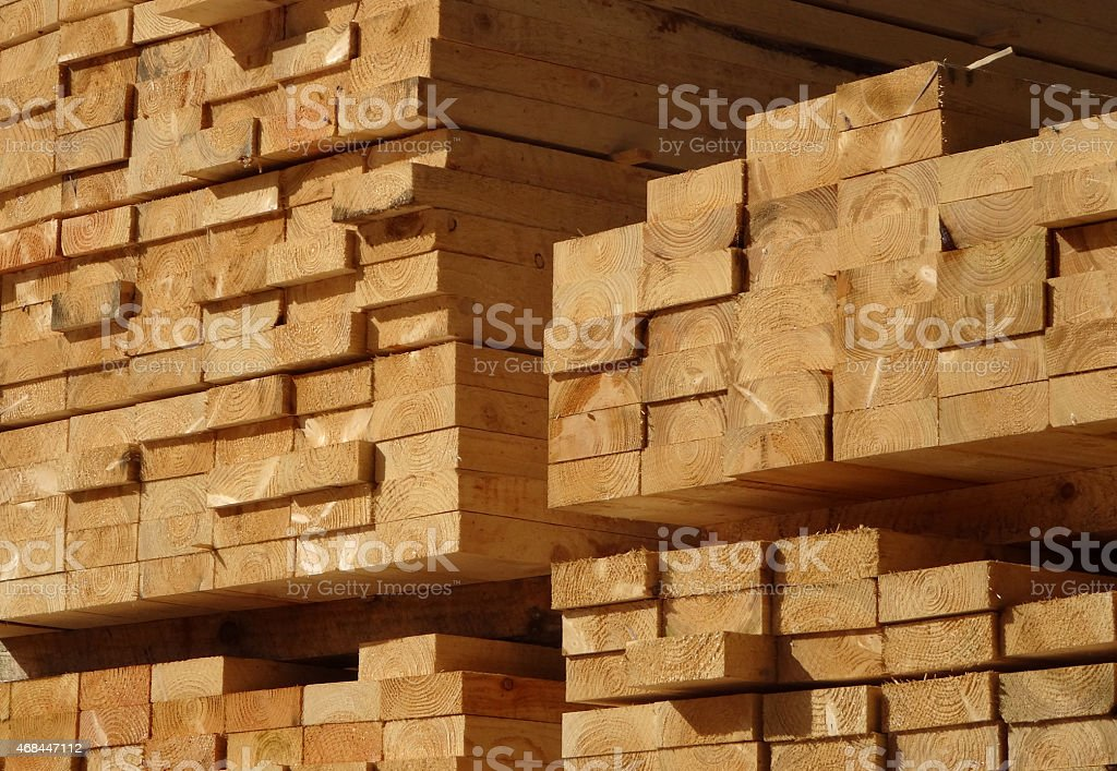 Image of lumber / timber yard, piles of wood planks / cut-edges stock photo