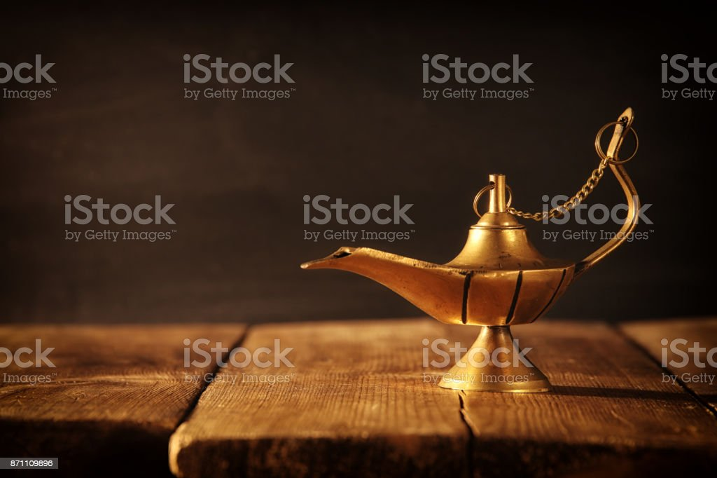 Image of magical aladdin lamp. Lamp of wishes. stock photo