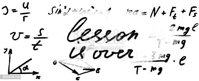 istock Image of math formulas on whiteboard close-up 855338206