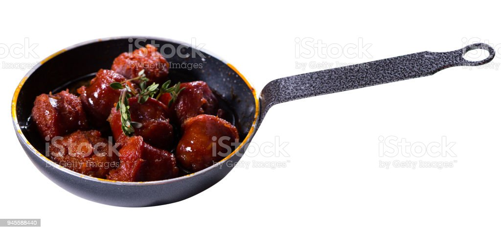 Image of meat on the pan stock photo