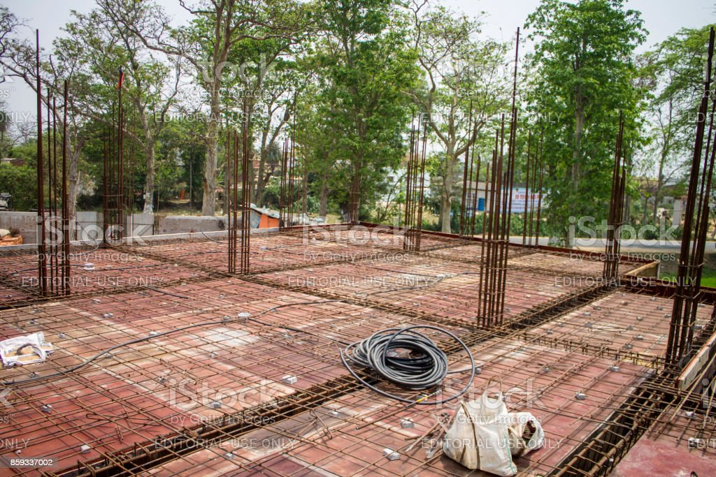 Image Of Metal Concrete Reinforcement Wire Mesh Bars Roof