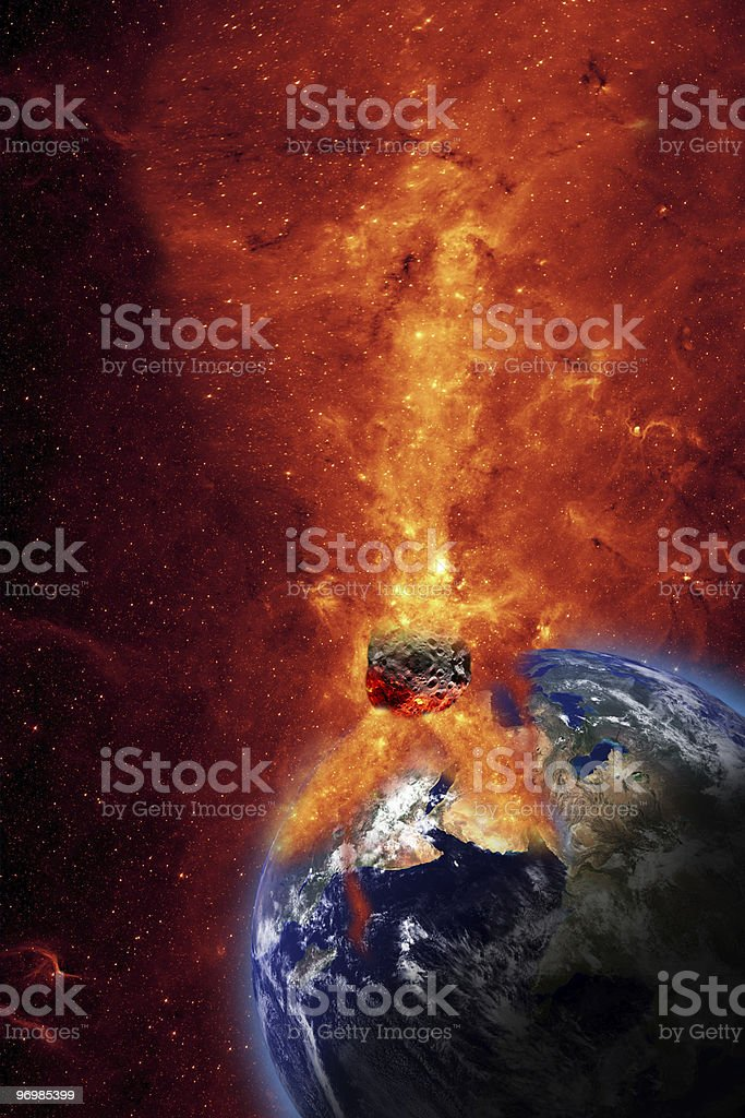 Image of meteor crashing into Earth causing explosion royalty-free stock photo