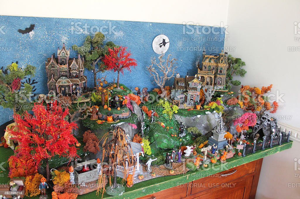 Image Of Miniature Halloween Village With Lemax Spooky Town ...