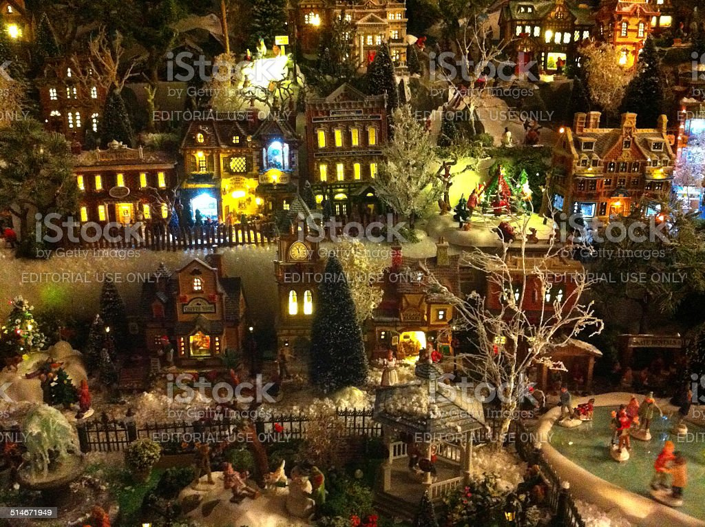 Image Of Model Christmas Village Miniature Houses People ...