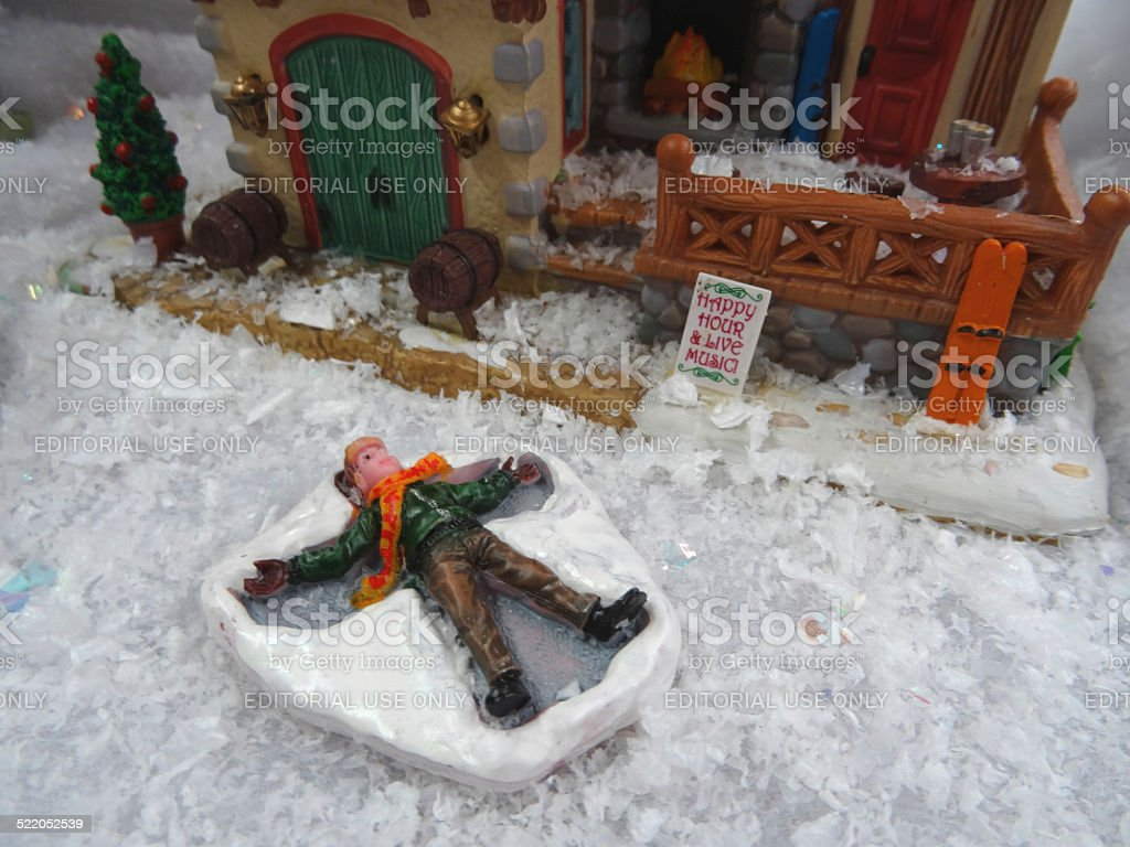 Image of model Christmas village , miniature houses, people, snow-angel child stock photo