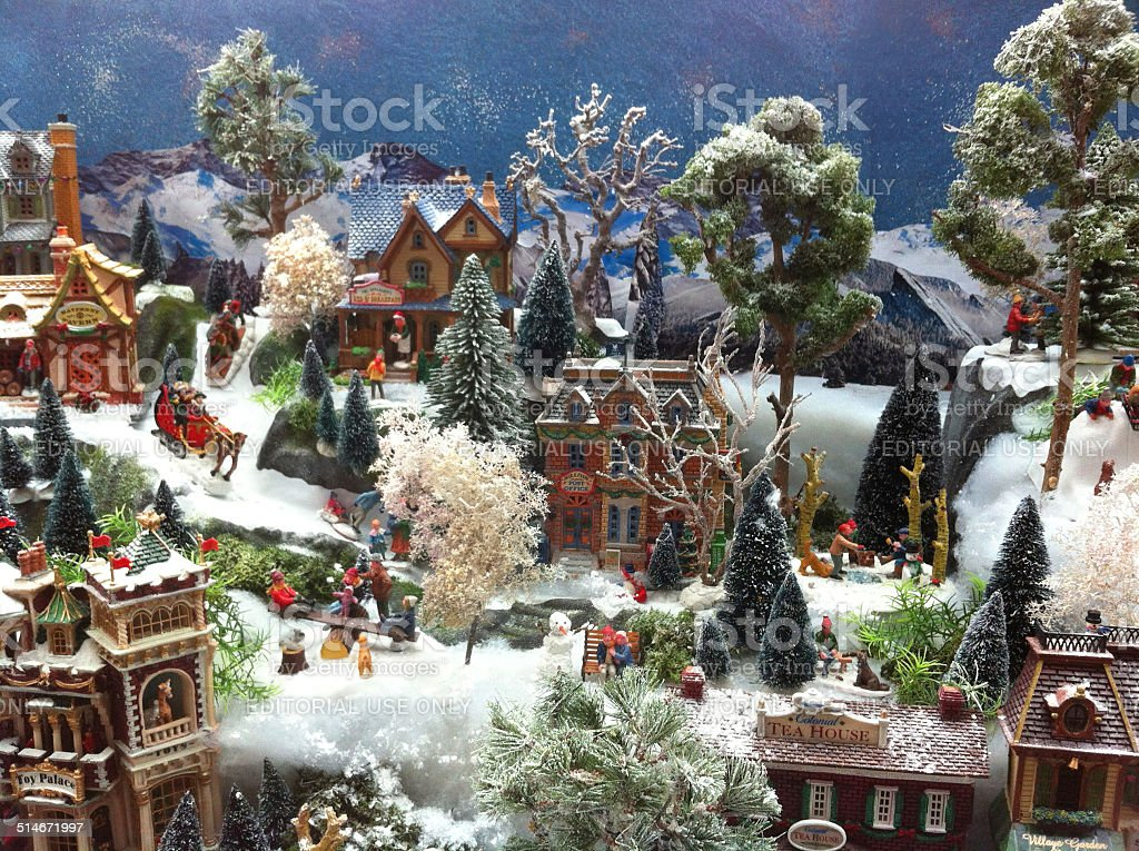 Image Of Model Christmas Village With Miniature Houses ...