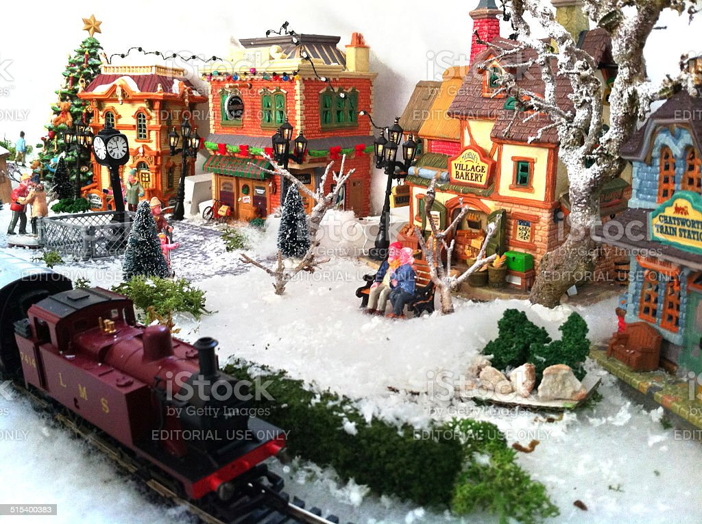 Christmas Model Railway.Image Of Model Christmas Village With Miniature Houses
