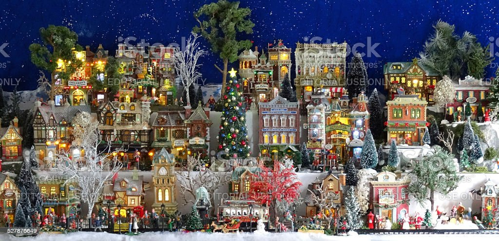 image of model christmas village with miniature houses people winter scene royalty - Miniature Christmas Town Decorations