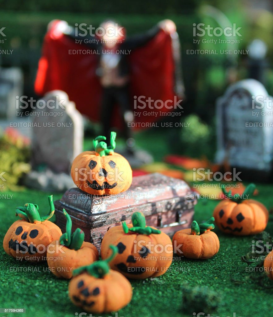 image of model halloween town village miniature houses people