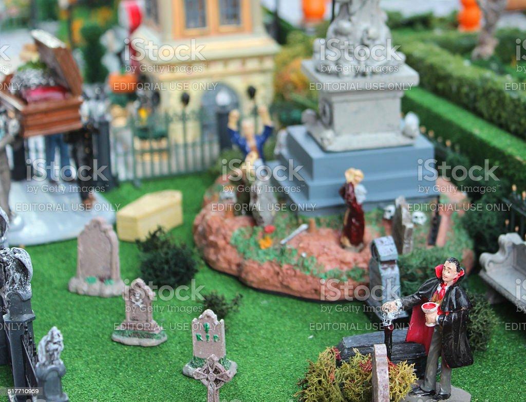 Image of model Halloween town / village, miniature houses, people, fall-autumn stock photo
