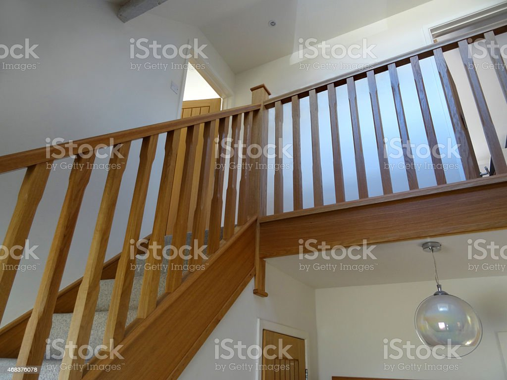 Image Of Modern, Light Oak Stair Spindles / Wooden Staircase Balusters,  Hallway Royalty