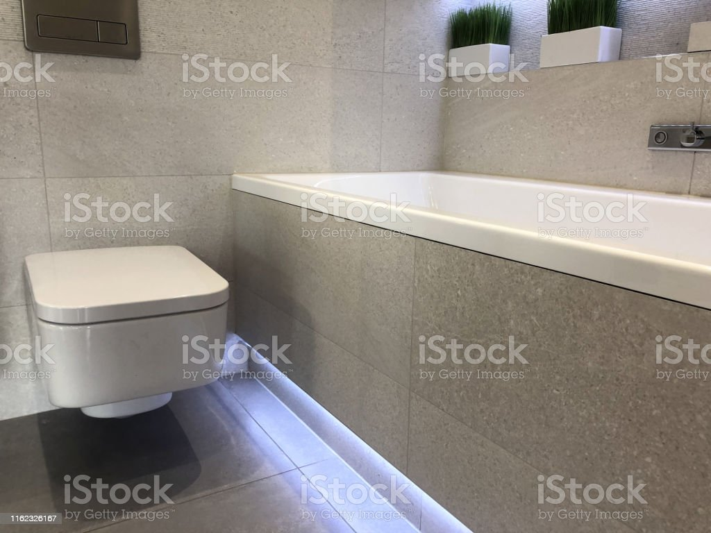 Image Of Modern White Luxury Bathroom Suite With
