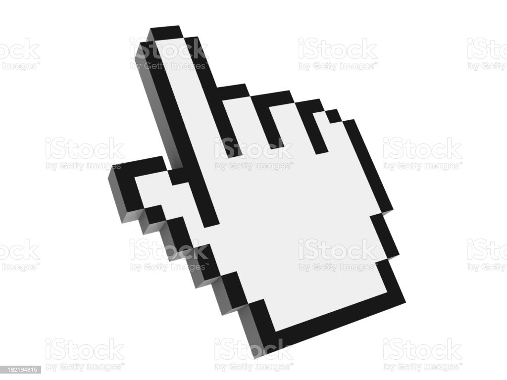 Image of mouse cursor icon with index finger pointing up stock photo