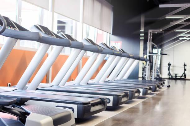 Image of multi treadmills stock photo