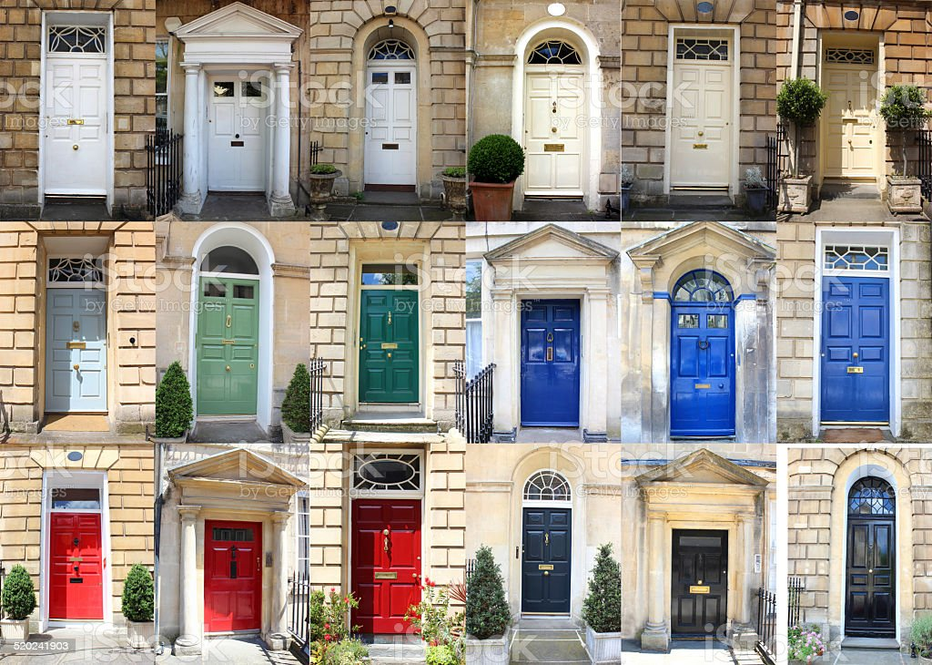 Image of multiple front doors collage / Georgian townhouse doors colours royalty-free stock : stock doors - pezcame.com