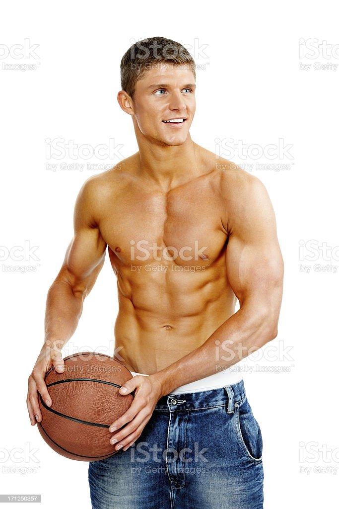Image of muscular young guy with basketball against white background royalty-free stock photo