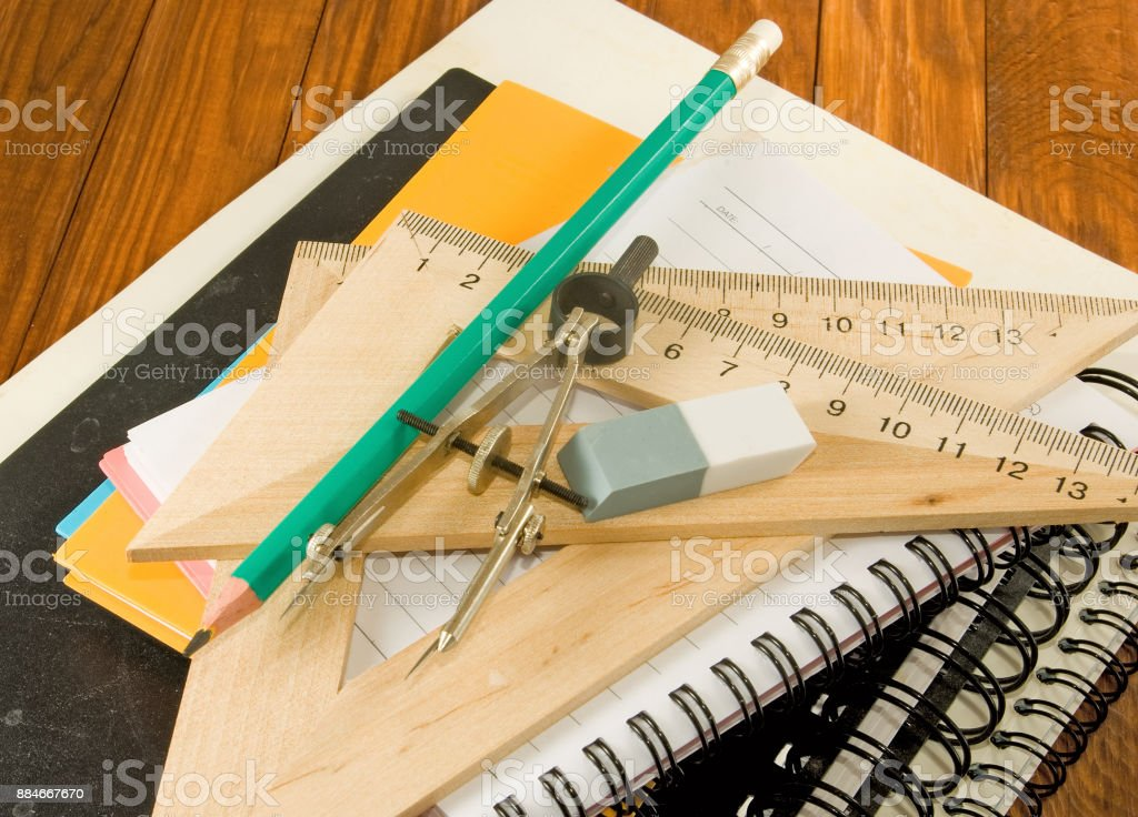 image of notebooks, ruler and pencil close up stock photo