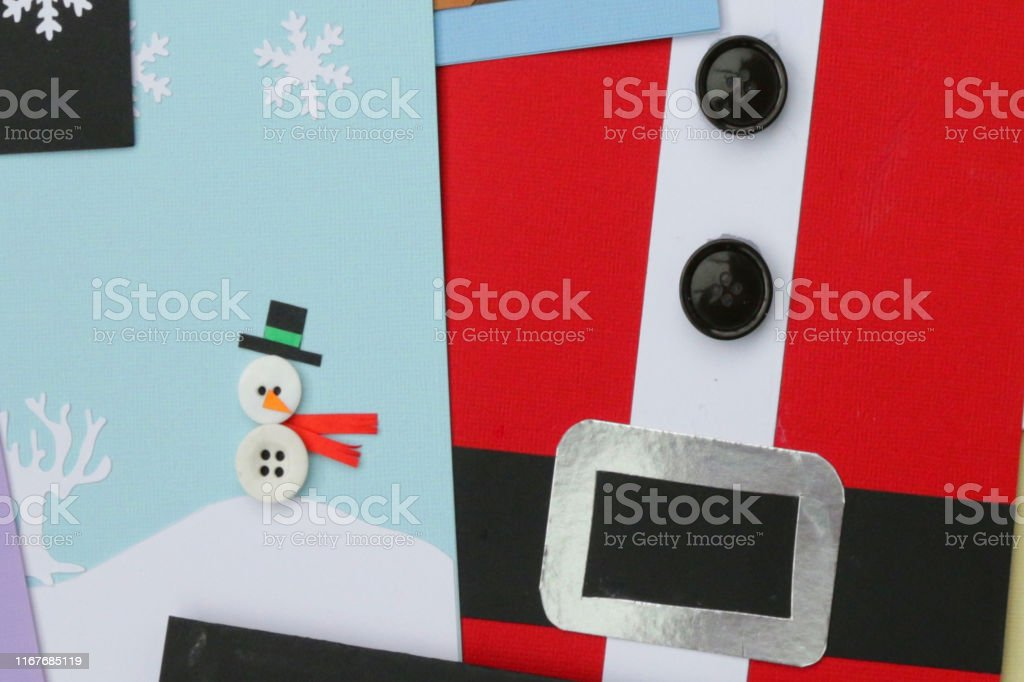 Image Of Of Homemade Diy Easy Christmas Cards Designs With Cutouts Santa Claus Snowmen Snowflakes With Buttons And How To Make Father Christmas Card Ideas For Happy Holidays Handmade Xmas Greetings Cards