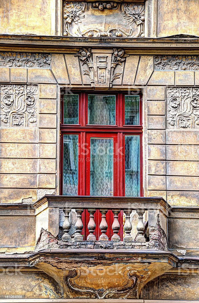 HDR Image of old balcony and door royalty-free stock photo