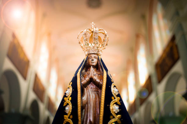 Image of Our Lady of Aparecida - Statue of the image of Our Lady of Aparecida Statue of the image of Our Lady of Aparecida, mother of God in the Catholic religion, patroness of Brazil religious celebration stock pictures, royalty-free photos & images