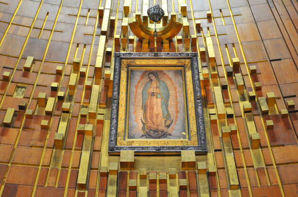 Image of Our Lady of Guadalupe in the New Basilica in Mexico City. Image of Our Lady of Guadalupe in the New Basilica in Mexico City. basilica stock pictures, royalty-free photos & images