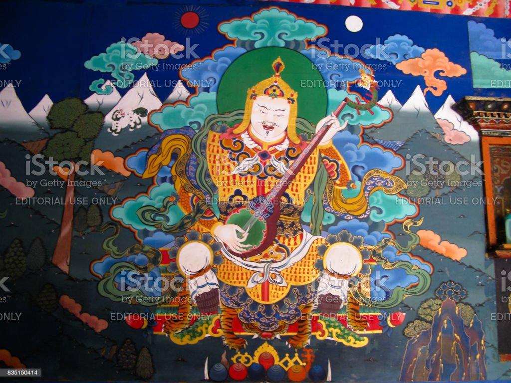 Image of Padmasambhava aka Guru Rinpoche on the wall of Taktsang Lhakhang monastery, Paro, Bhutan stock photo