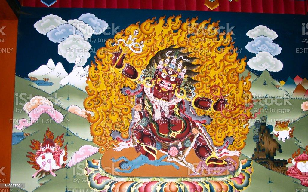 Image of Padmasambhava aka Guru Rinpoche on the wall of Taktsang Lakhang monastery, Paro, Bhutan stock photo