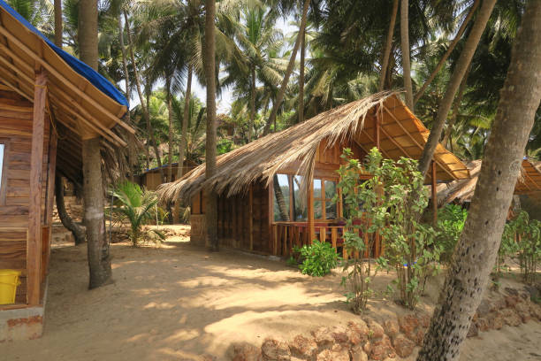 Image of Palolem Beach huts and sea ocean view raised high wooden treehouse beach hut windows overlooking balcony terrace fishing boats, Goa beaches, South India, Goa holiday vacation room treehouse windows, terrace balcony view seaside, sea, palm trees stock photo