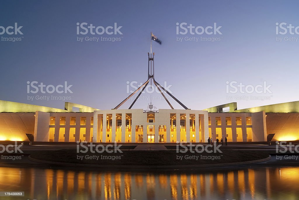 Image of Parliament House with reflection in water stock photo