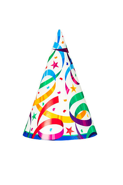 Image of party hat with stars and ribbon