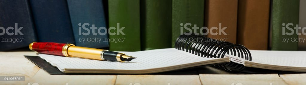 Image of pen and notebook closeup stock photo