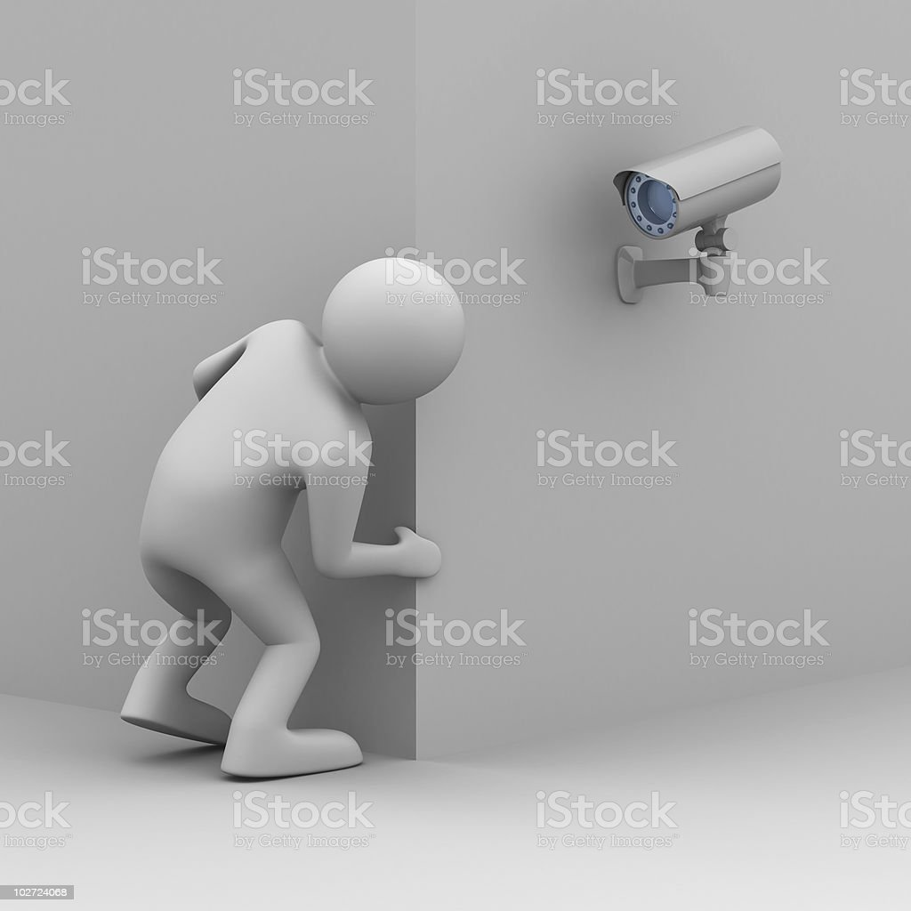 3D image of person looking around corner at camera royalty-free stock photo