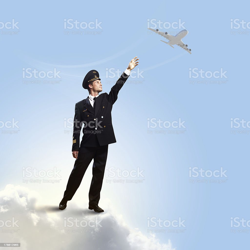 Image of pilot touching air royalty-free stock photo