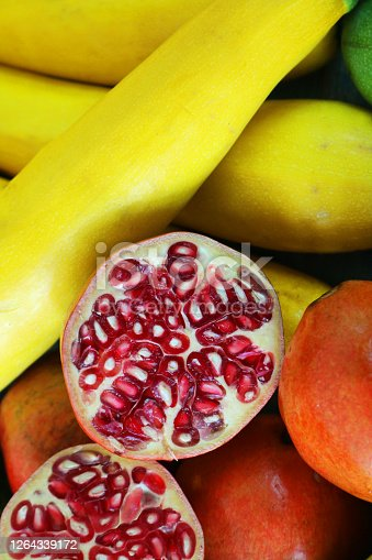 Stock photo showing an elevated view of healthy eating image of a pomegranate (Punica granatum).