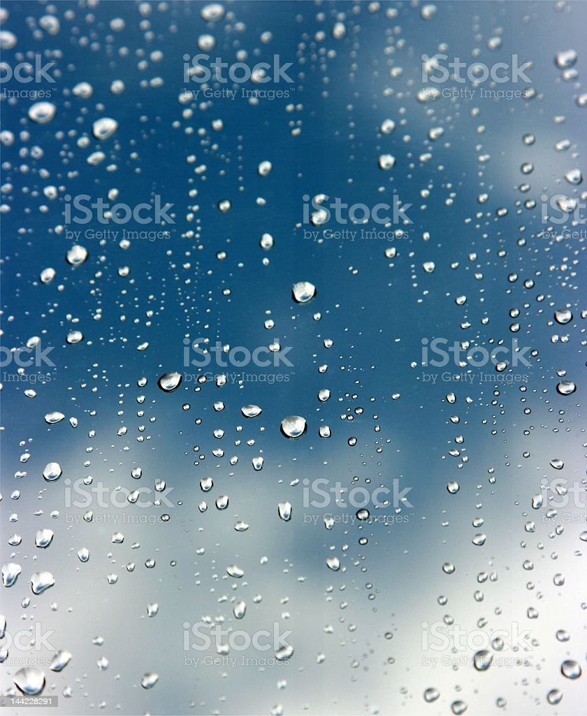 Image of raindrops on a window stock photo