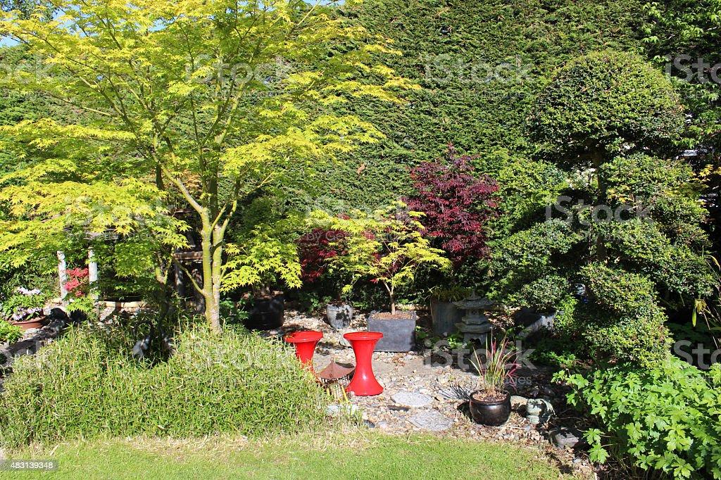 Immagine di sgabelli in plastica rossa nel giardino di aceri