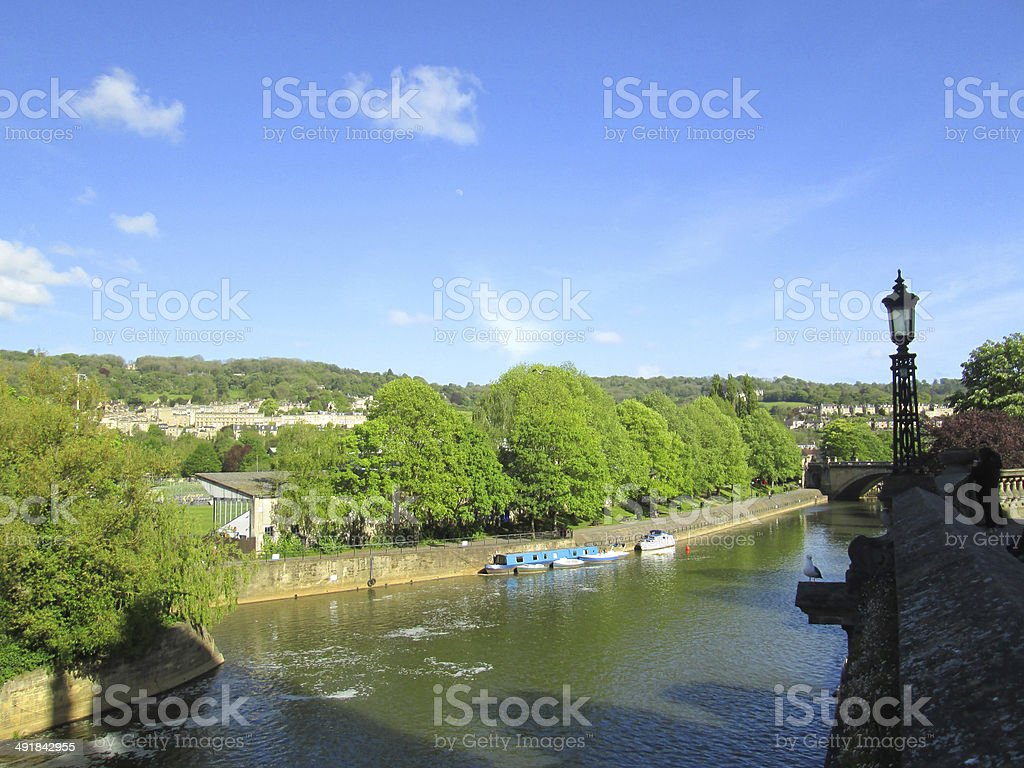 Image of River Avon by Pulteney Bridge, Bath, England, UK stock photo