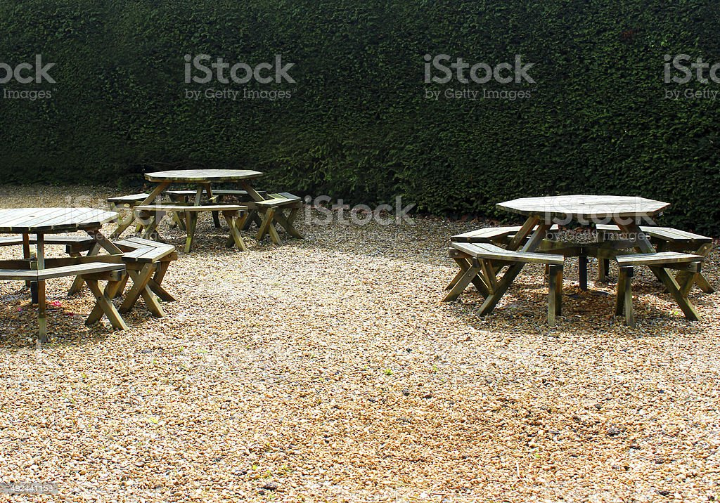 Pleasant Image Of Round Wooden Picnic Tables In Garden On Gravel Andrewgaddart Wooden Chair Designs For Living Room Andrewgaddartcom