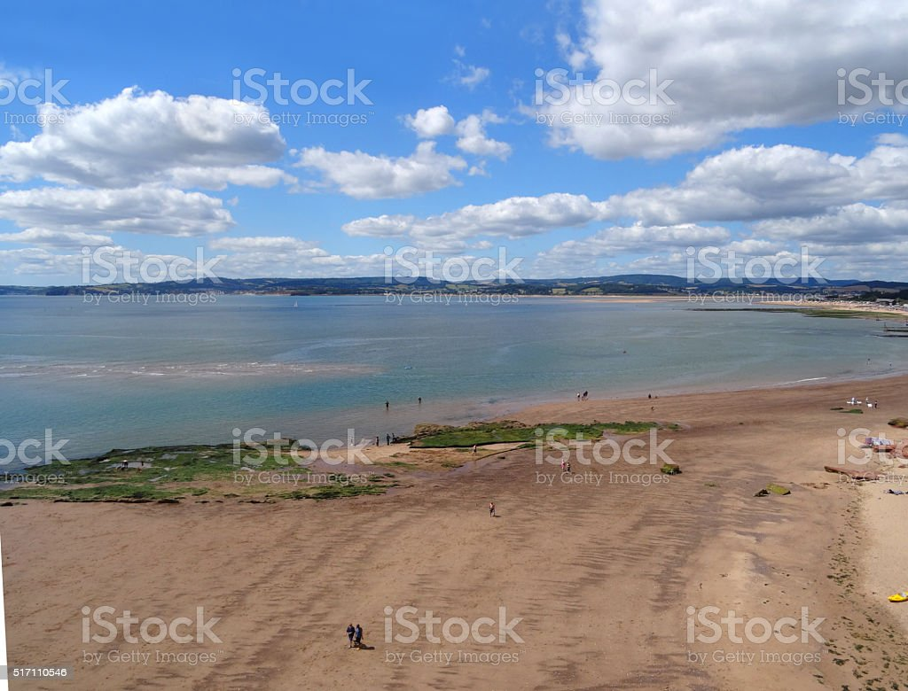 Image of Sandy Bay from Orcombe Point, Exmouth, Devon, England stock photo