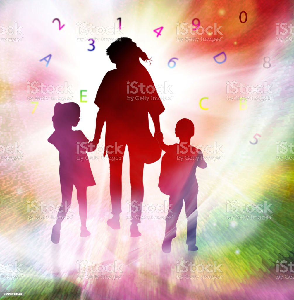 image of silhouettes girls, boy and women against the globe. stock photo