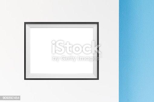 istock Image of simple poster frame mockup scene. 909392454