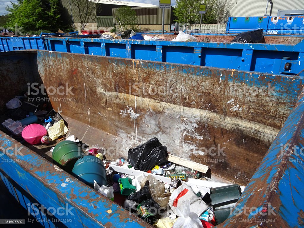 Image of skip at waste recycling centre filled with rubbish stock photo