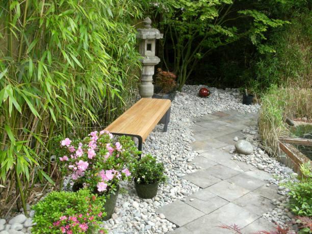 Bild von Schieferplatte Weg in Zier-, Hausgarten mit japanischen Elementen, moderne Holzbank, Topf Azaleen, Granit Laternen, Bambus-Hedging, Koi Fischteich und japanische Ahorne (acers) – Foto