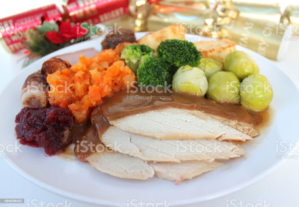 Image of sliced turkey on Christmas dinner plate sprouts crackers royalty-free stock & Image Of Sliced Turkey On Christmas Dinner Plate Sprouts Crackers ...