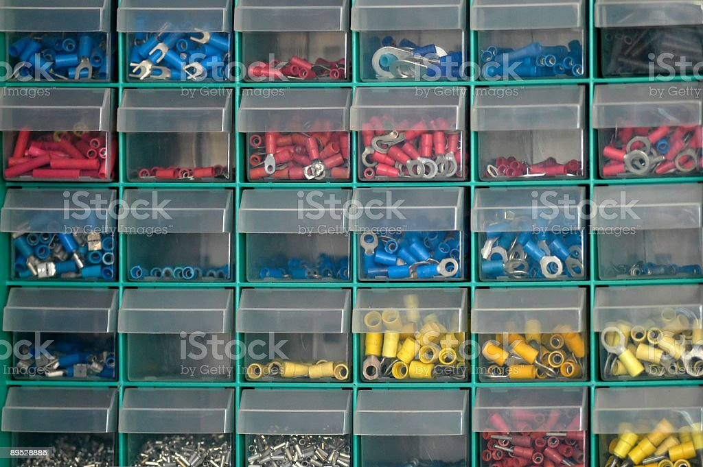 Image of small plastic storage boxes royalty-free stock photo