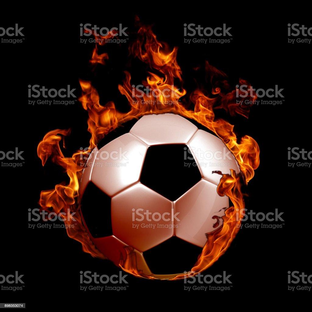 Image de ballon de soccer en feu de flammes sur fond noir - Photo