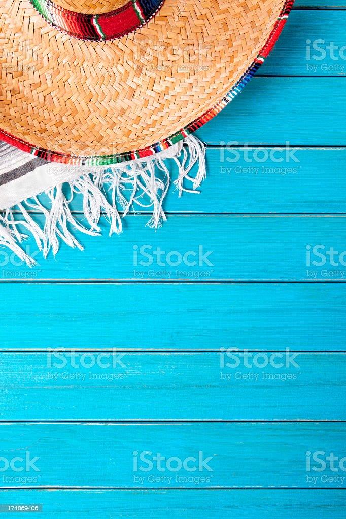 Image of sombrero on beautiful blue deck stock photo