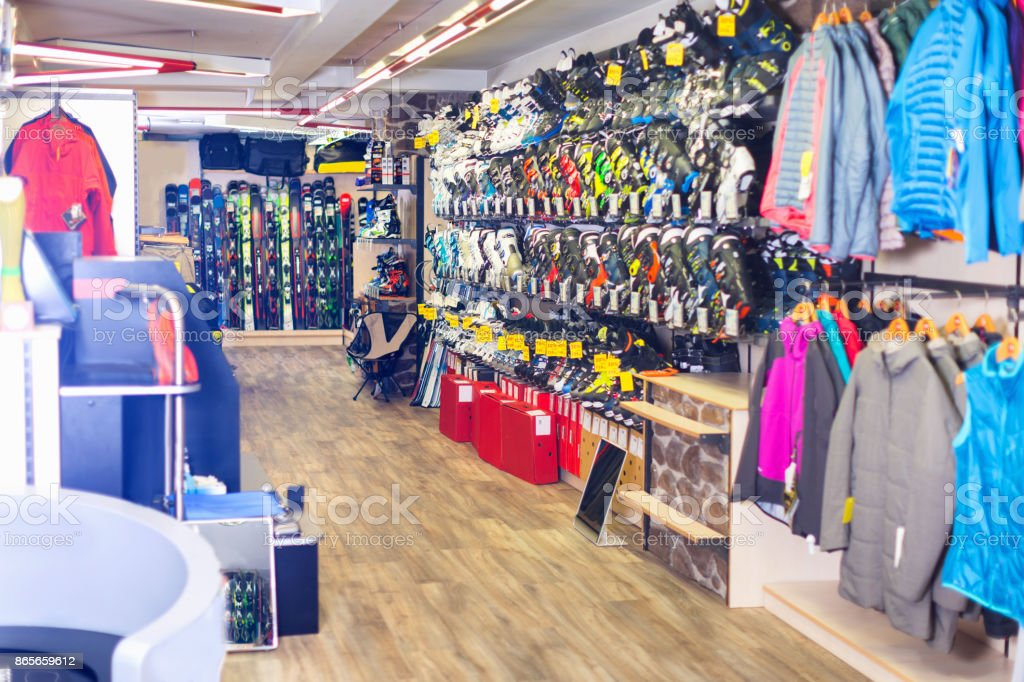 Image of sport store with equipment stock photo