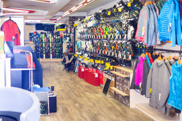 image of sport store with equipment - negozio sci foto e immagini stock